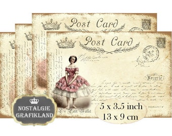 Postcards Ballet Ballerina Shabby Chic French Instant Download digital collage sheet P153