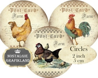 Farm Rooster Hen Chicken Circles 2 inch Instant Download digital collage sheet C184