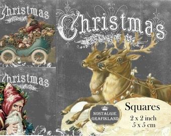 Vintage Christmas 2x2 inch squares Instant Download digital collage sheet TW114 wreath square chalkboard reindeer