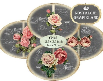 Chalkboard Roses French Oval 3.5 x 2.5 inch printable Etiquette digital collage sheet O122 instant download