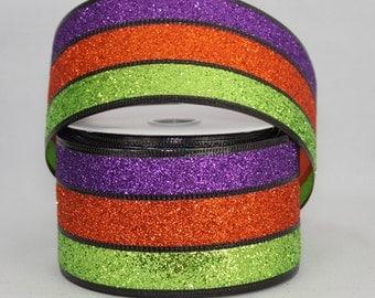 10 yards Sparkle Stripe Halloween Wire Edge Ribbon - Ribbon for Wreaths, Halloween Wreath Ribbon