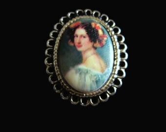 Vintage Portrait Brooch, Transferware Porcelain Lady Pin, Quaint & Romantic