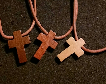 Wood cross pendant charm leather necklace