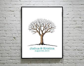 Baby Shower / Wedding Thumbprint Tree Guest Book Alternative Simple Design