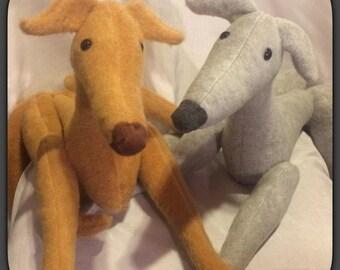 Personalized Greyhound (collar only) - Greyhound Stuffed Animal - Greyhound Plushie - Greyhound Softie - Memorial - Made to Order