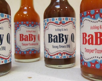 Dr Seuss inspired Baby Shower favors pick your label   First Birthday Adoption Birth Announcement , set of 12 Personalized BBQ or Hot Sauces