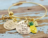Custom Hand Stamped Pineapple  Bangle - GOLD wire bangle Mom Wire Bangle | Bangle Bracelet | Wire Bracelet | Stainless Steel | Hand Stamped