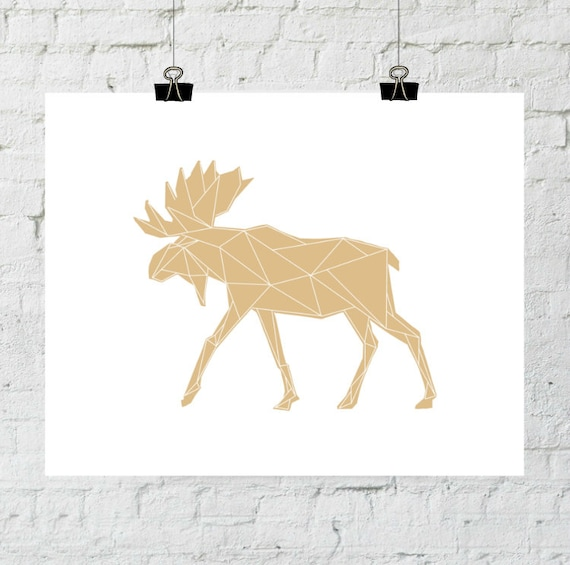 Moose Decor, Moose Antler, Moose Baby, Moose Art, Geometric Orange Art Print Poster Wall Art, Native Woodland Nursery, Adoption Fundraiser