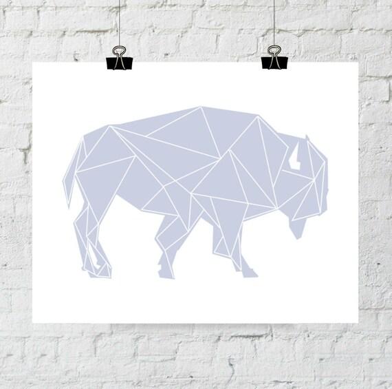 Printable Art, Buffalo Nursery, Purple Buffalo Art, Geometric Print, Tribal Art, Buffalo Wall Print, Buffalo Art, Purple Nursery Decor, Art