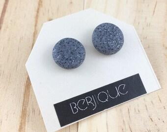 Granite polymer clay stud earrings on surgical steel posts grey earrings monochrome earrings stone earrings geometric earrings clay earrings