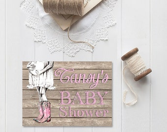 Cowboy Boots Baby Shower Invitations / Cowboy Boot Baby Shower Cards / Cowboy Baby Country Chic Western Farmhouse Barn Parties / PRINTED 5x7