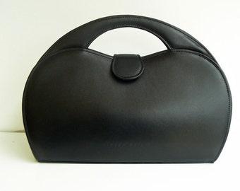 Luxury Black Leather Top Handle Bag Handmade in England