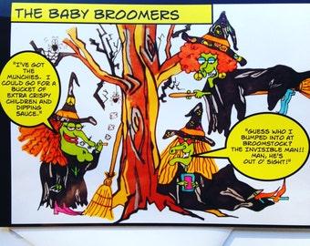 Funny Halloween Cards - Hand Drawn Cartoon Halloween Card - 1960's Fun - One of a kind
