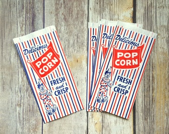 25 Vintage Style Popcorn Bags, Carnival Inspired, Circus Inspired. Food Bag, Party Bag, Red White Blue, Clown Bag