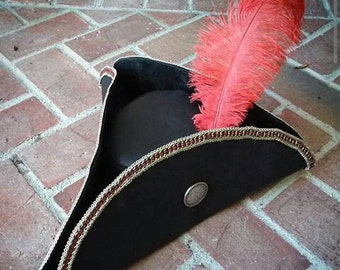 Tricorn Leather Hat With lace edge, Silver and Gold Concho, Ostrich Feather and Lining by Artrix Leather and Fine Art