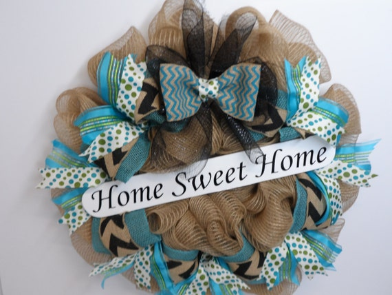 deco mesh wreath with home sweet home sign year round wreath. Black Bedroom Furniture Sets. Home Design Ideas