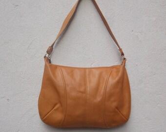 Caramel Brazilian Leather Shoulder Bag Handbag Purse