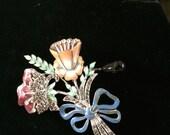 Enamel and rhinestone flower brooch