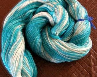 OOAK Hand dyed variegated gradient 'Sea Foam' 4 ply