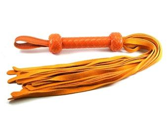 Premium Orange Suede Flogger - Orange Braided Handle