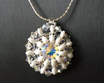 Swarovski Rivoli Crystal and Superduo Pendant with chain