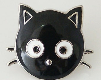 KB6336 Silver and Enamel Black Cat - Cute!