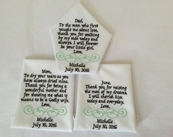 Personalized Wedding Embroidered  handkerchief gift keepsake Set of 3, Father of the Bride handkerchief, Mother of the Bride