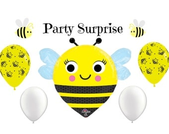 Bumblebee Balloons Be Mine Bee Mine Balloons Baby Shower Valentine Black and Yellow Bumblebee balloons