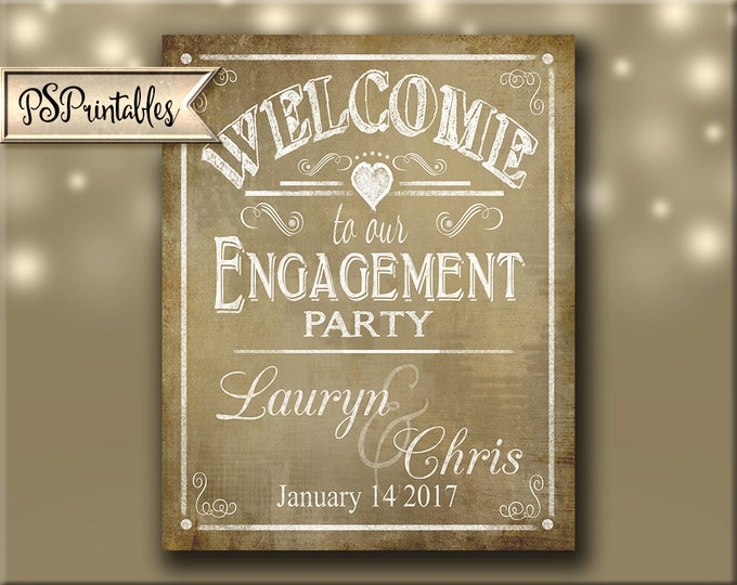 Personalized WELCOME to our Engagement Party Printable Poster - DIY - Vintage Style