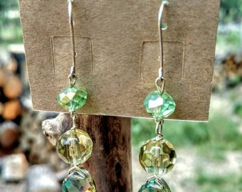 Unique, OOAK earrings made with green glass beads & silver