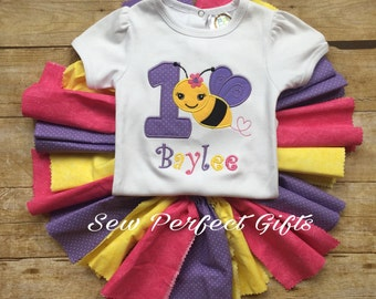 Bee birthday outfit, bumble bee, girls first birthday,