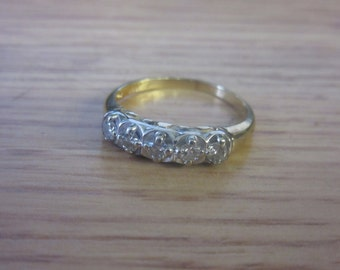 4 Stone 1/5ct Diamond Yellow and White 14K Gold Band Size 6