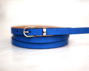 Free shipping! Leather belt, blue belt, woman belt, Blue dress belt, skinny belt, waist belt, narrow belt, belt for dress, casual belt