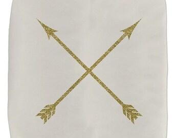 Gold Arrow Ottoman - Ottoman - Arrow Print - Pouf Ottoman - Decorative Ottoman - Rustic Decor - Ivory - Home Decor - Gift Ideas for Her
