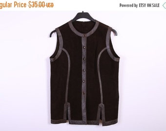 ON SALE Womens Chocolate Brown Suede Waistcoat Push Button Long Leather Vest Medium