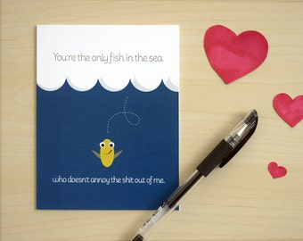 Funny Love / Valentine's Day Card. Fish in the Sea. Card #006b