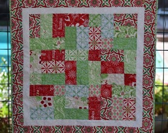 """Christmas, Holiday Quilted Table Topper 24"""""""