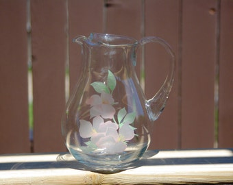 """Vintage Glass Pitcher, Juice Pitcher, No Spill Spout, Handpainted with Flowers, 8"""" Tall"""
