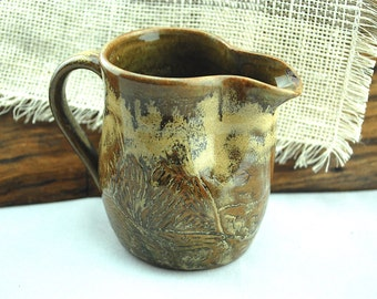 Carved Stoneware Pitcher, ceramic pitcher, gravy pitcher, coffee creamer, rustic pottery- ready to ship!