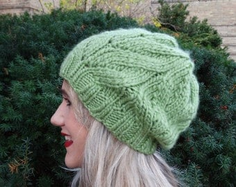 Knitted Green Hat -  Handmade Knitted Green Slouchy Hat - Ready to Ship Hat -  Slouchy Hat - Women's Slouchy Hat - Green Chunky Wool Hat -
