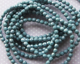 Czech Firepolished Faceted Round Glass Beads, Pack of 40, Blue Grey Opaque Luster