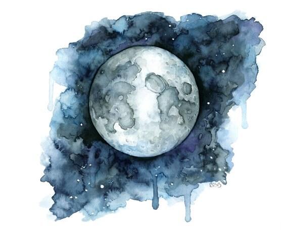 Acuarela de luna impresi n titulada goodnight for Goodnight moon tattoos