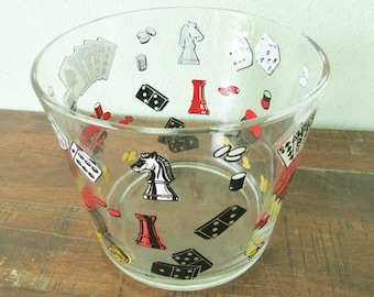 Game Night retro ice bucket, glass game pieces barware bucket, roulette wheel, chess home decor, dominos, dice games, poker barware