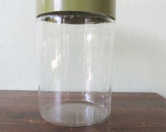 Pyrex green storage canister, glass avocado green kitchen canister, kitchen jar, storage jar, vintage sealed jar,