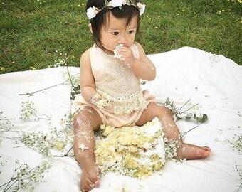 Boho Baby Romper Play Suit, blush cotton and macrame trim - 3-6m, 6-12m, 12-18m, 24m, 2/3T, 4/5T