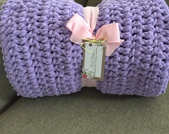 Handmade Chunky Purple Crocheted Baby Blanket