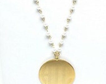 """Monogrammed Pearl and Gold Necklace, engraved, 2"""" disc engraved Necklace"""