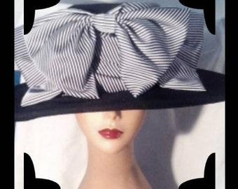 TITANIC INSPIRED BOARDING Hat - Black Velvet -  Pinstripe Bow