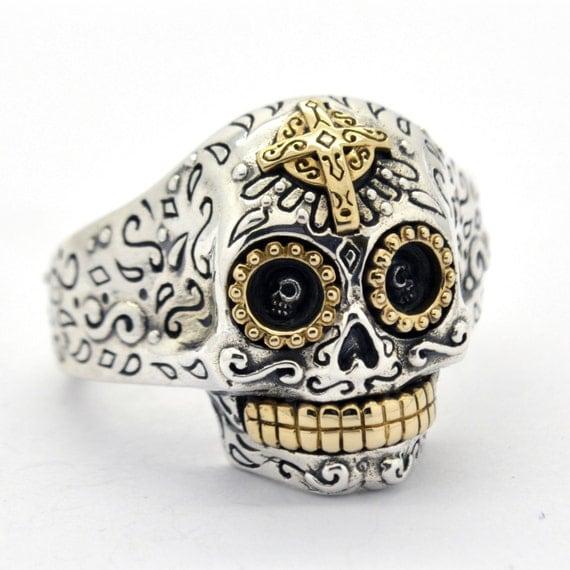Adjustable Biker Sugar Skull Ring in Sterling Silver for Men & Women