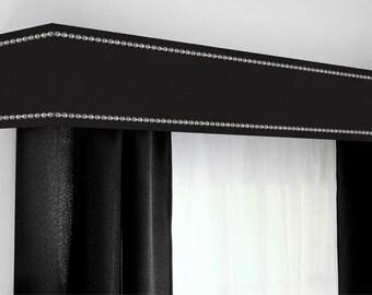 Custom Cornice Board Pelmet Box Window Treatment in Grey with